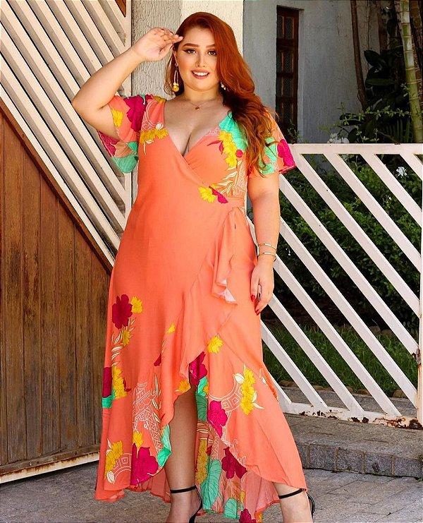 Vestido laranja transpassado