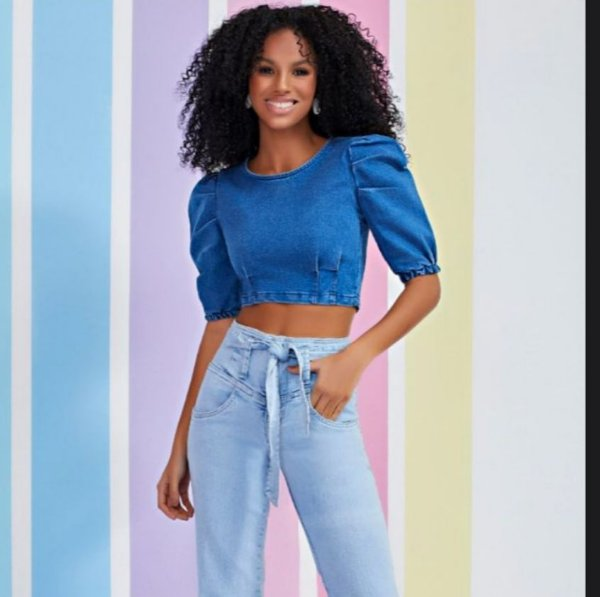 blusa jeans manga bufante