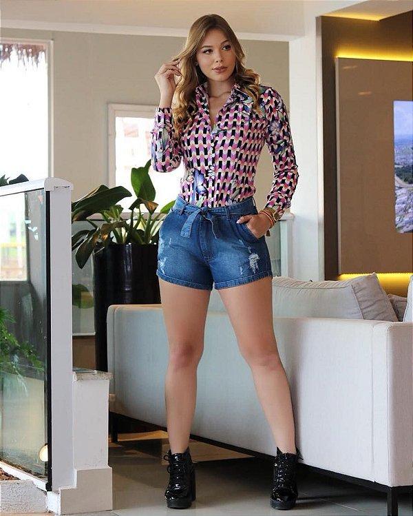 Short Jeans com Amarração