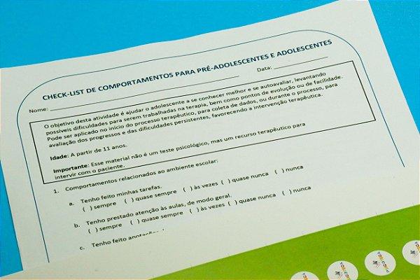 Checklist de Comportamentos para pré-adolescentes e adolescentes- Kit com 10