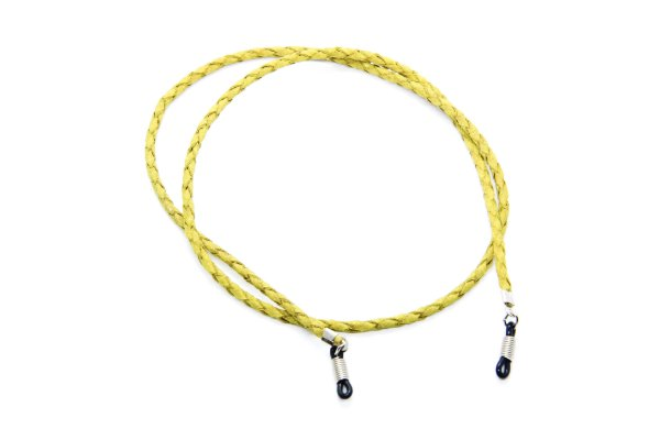 CORRENTE CORDÃO COURO Modelo: Cordão Trançado cor Amarelo