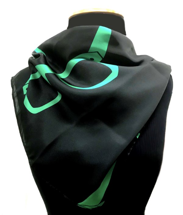 LENÇO DE PESCOÇO ou DE CABEÇA Modelo: STRACCIATTA cor Preto-Verde