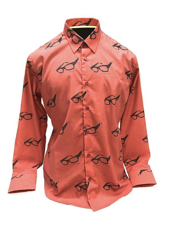 CAMISA ALFAIATARIA Tricoline Masculina Modelo: RETRO cor Vermelho