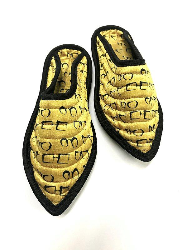 CHINELO ORIENTE Sola de Couro Modelo: SANT cor Amarelo