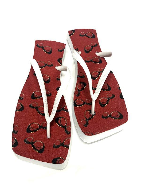 CHINELO BORRACHA POLIGNANAS Modelo: Balen cor Vermelho, Feminino