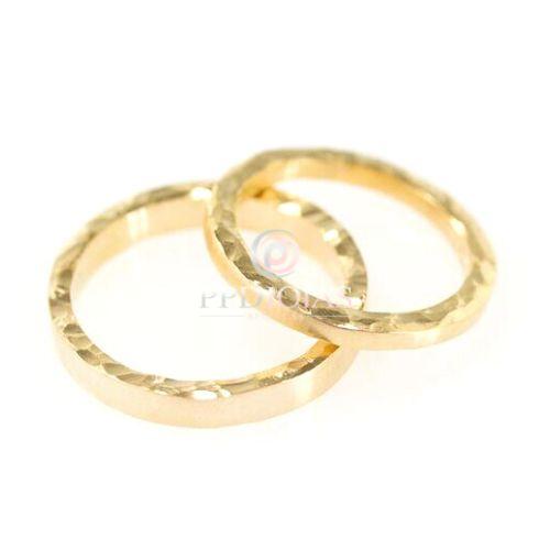 Par de Alianças Rustic Love - Ouro 18k