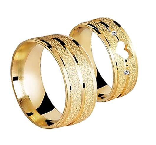 Par Aliança Love- 3 Camadas Ouro 18K