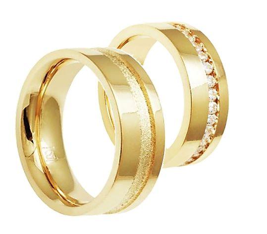 Par de Alianças Dubai - 3 Camadas Ouro 18k
