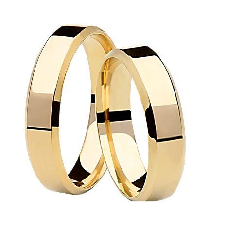 Par Aliança Italiana Fina - 3 Camadas Ouro 18K