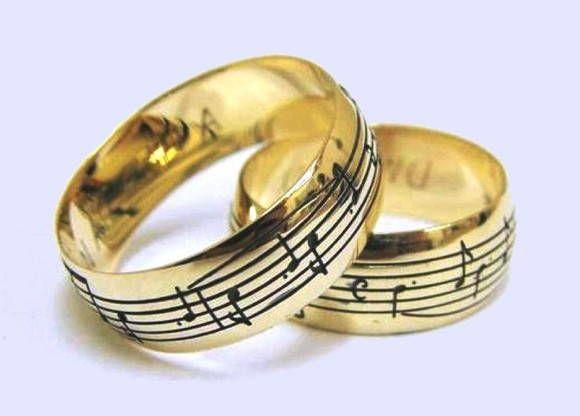 Par de Alianças Notas Musicais - Ouro 18k