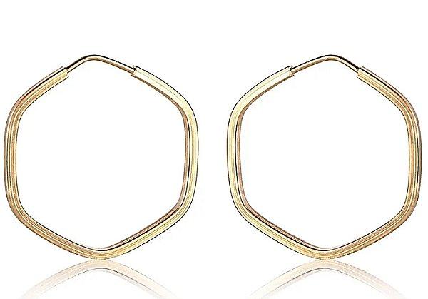 Brincos 1.8cm Hexagonal - Ouro 18k