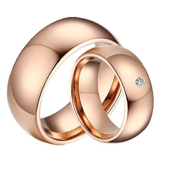 Par de Alianças - 3 Camadas de Ouro 18k Rose