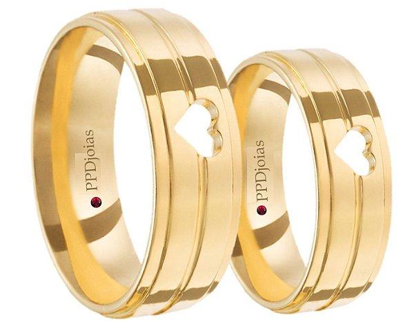 Par Alianças duo Love - 3 Camadas de Ouro 18k