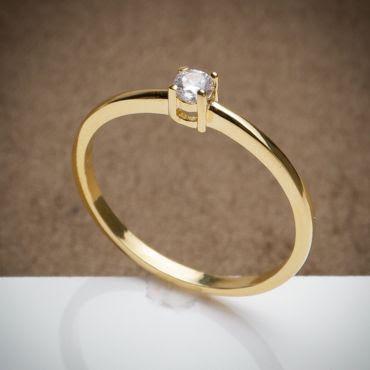 anel de Noivado Tradicional - 3 Camadas de Ouro 18k