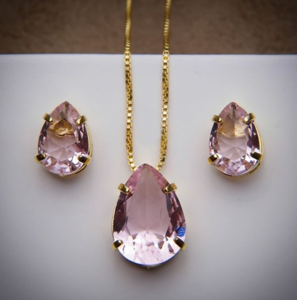 Conjunto Rose Cristal - 3 Camadas de Ouro 18k