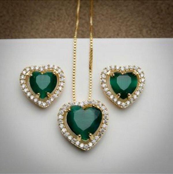 Conjunto Love Esmeralda - 3 Camadas de Ouro 18k