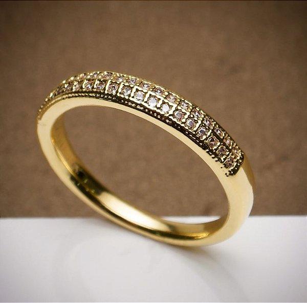 Anel Meia Aliança - 3 Camadas de Ouro 18k