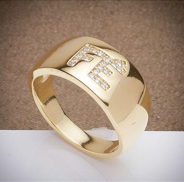 Anel Fé - 3 Camadas de Ouro 18k