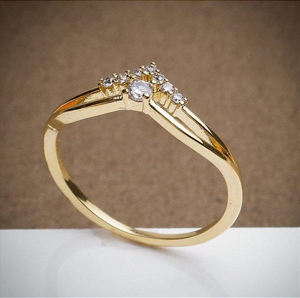 Anel Solitário - 3 Camadas de Ouro 18k