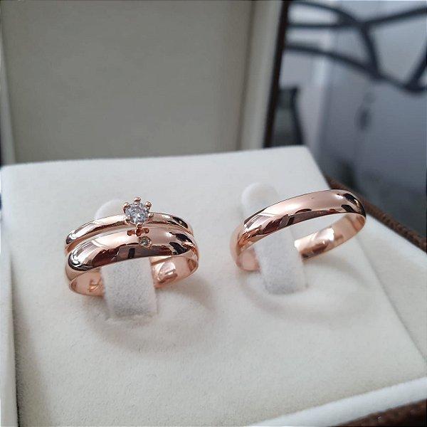 Par de Alianças Zambelis - Ouro 18k Rose