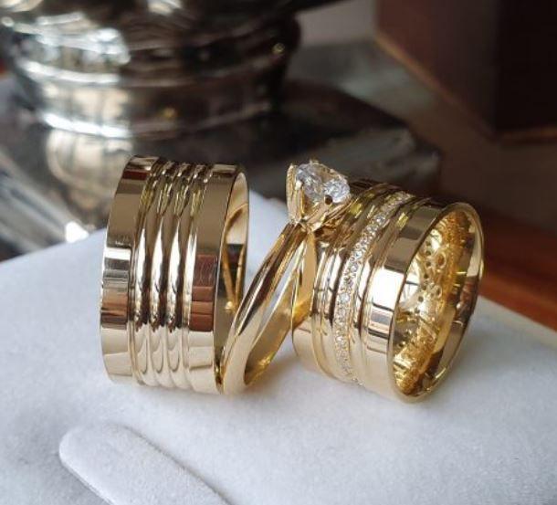 Par de Alianças Salomão - Ouro 18k