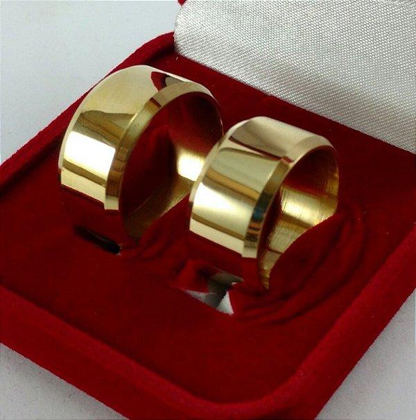 Par de Alianças Italiana - 3 Camadas de Ouro 18k