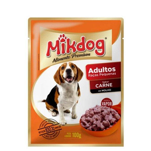 Ração Úmida Sache Mikdog Adultos Raças Pequenas Carne 100g
