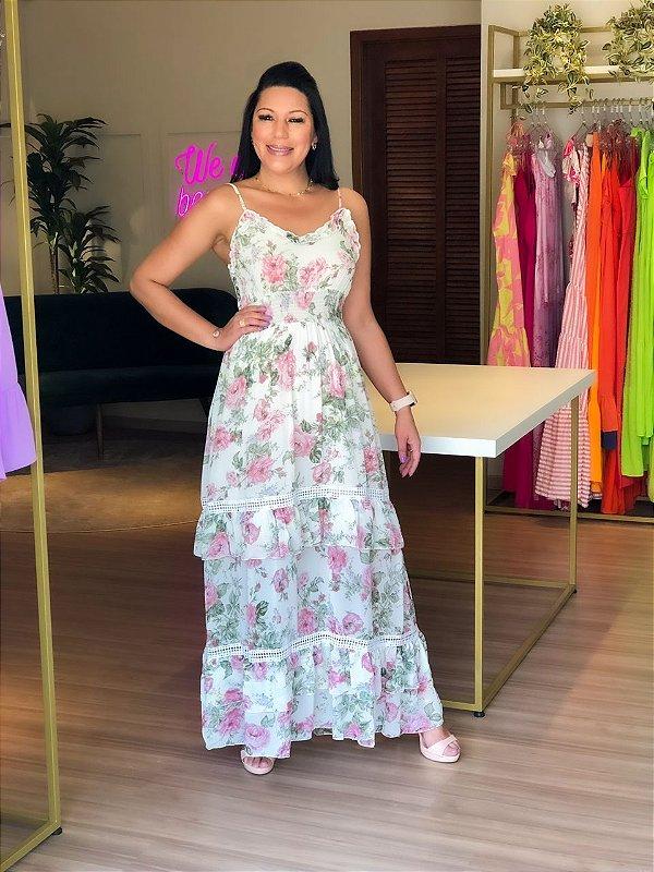 Vestido Longo Chiffon Floral