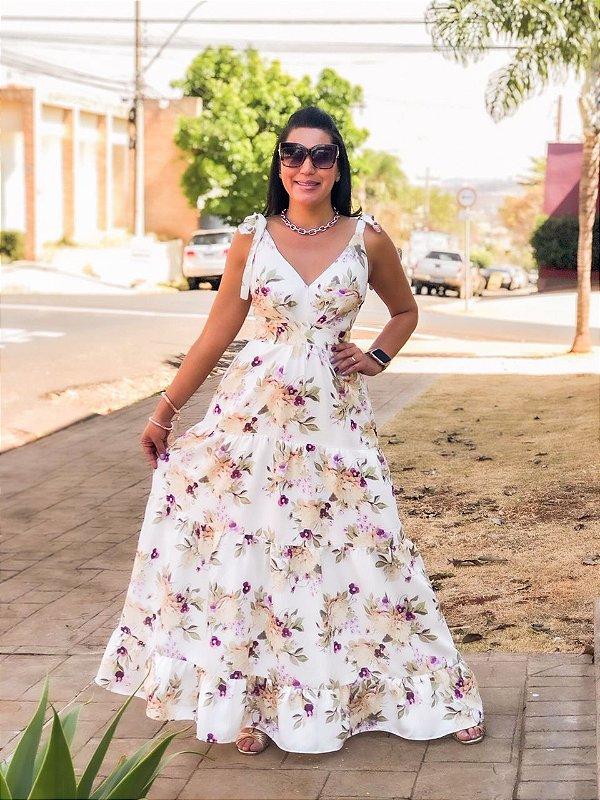 Vestido Longo Linho Floral