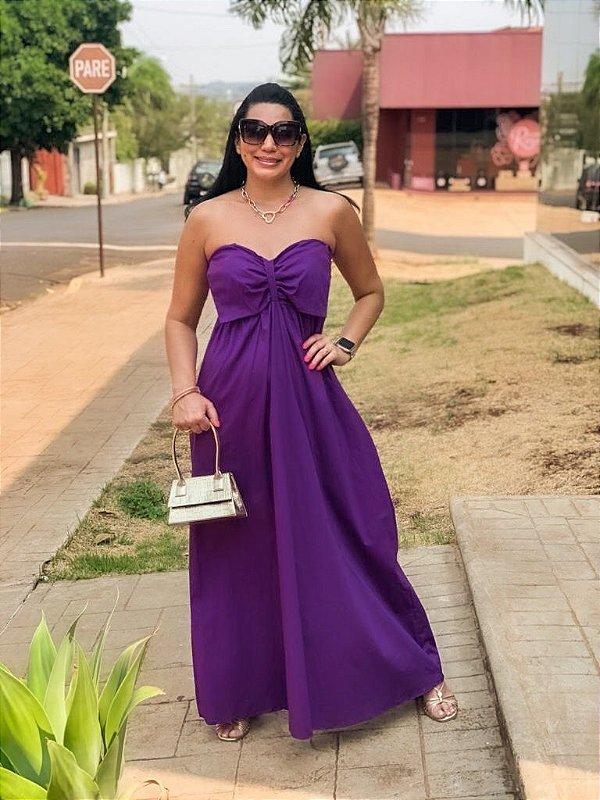 Vestido Longo Tricoline Roxo Ariele