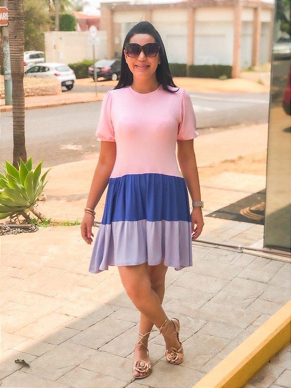 Vestido Color Block Malha