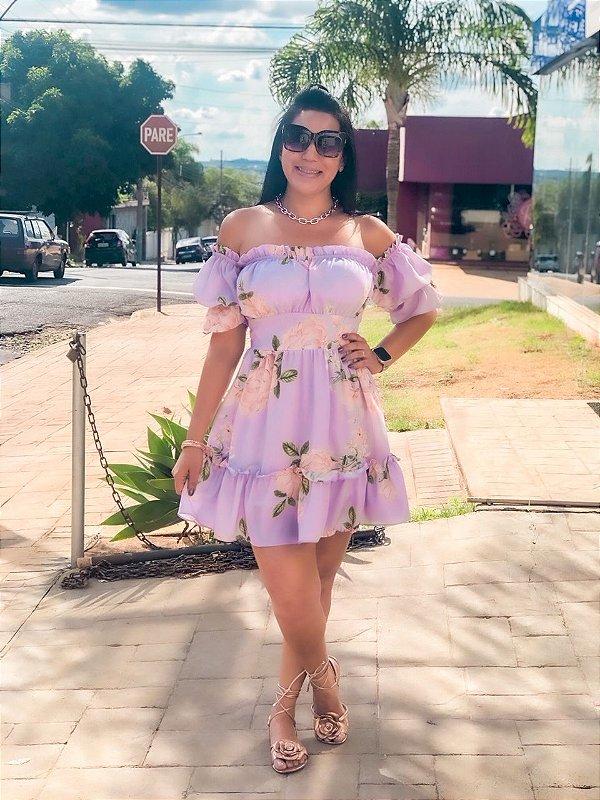 Vestido Ciganinha Floral Lavanda