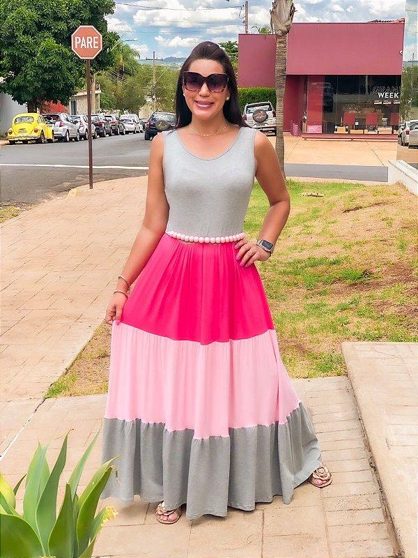 Vestido Longo Malha Color Block