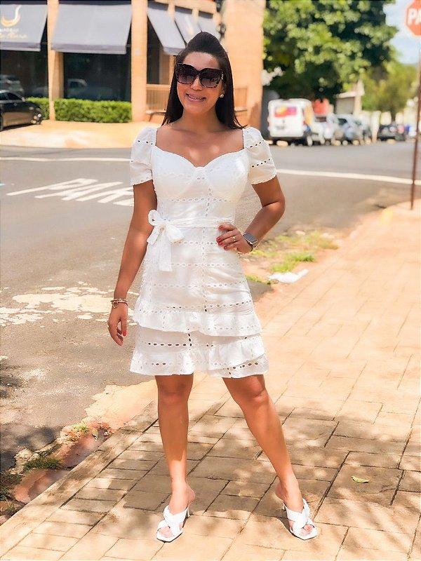 Vestido Curto Laise Off White Tatiana