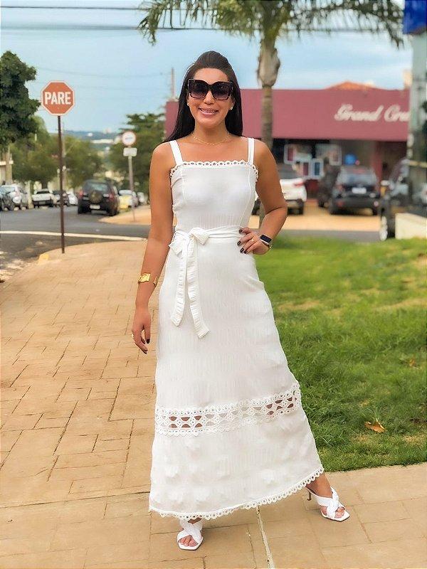 Vestido Longo Off White Maria Eduarda