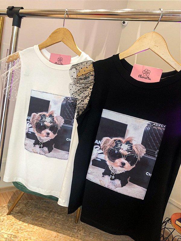 T-shirt Fashion Bordada Manga Tule