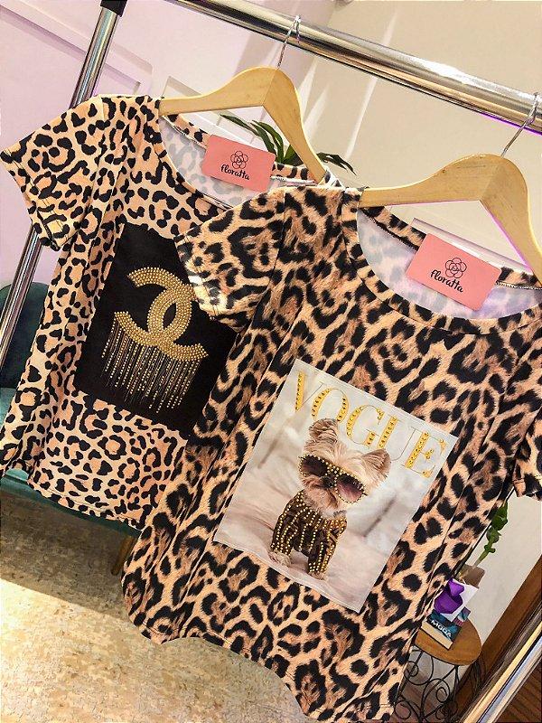 T-shirt Animal Print Bordada
