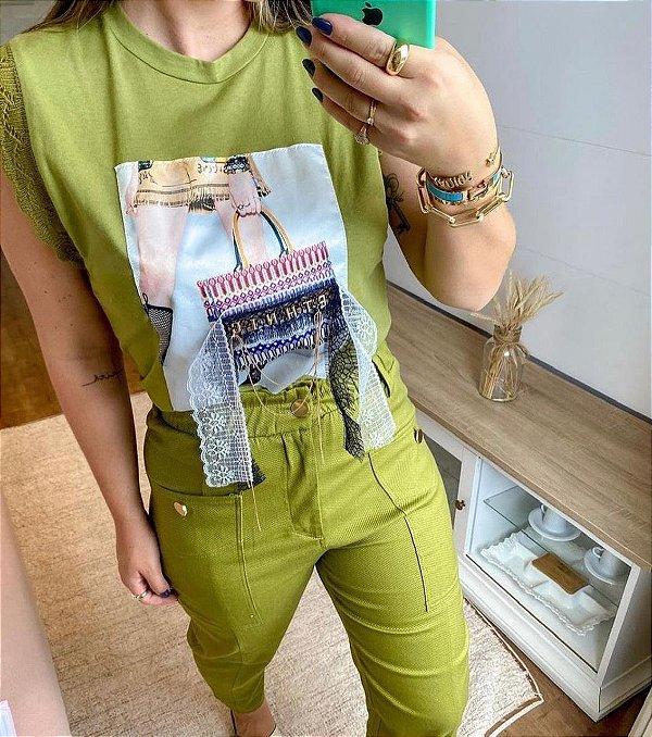T-shirt Regata Bordada Verde Lov.it