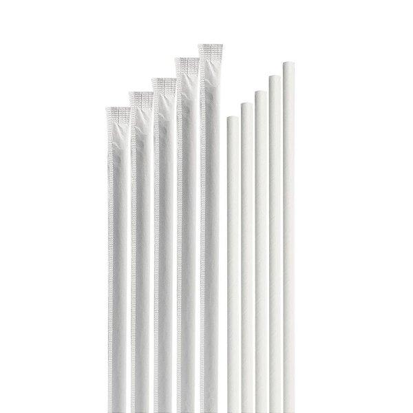 1.000 Canudos de Papel Branco Individualmente Embalados BioTube Biodegradável
