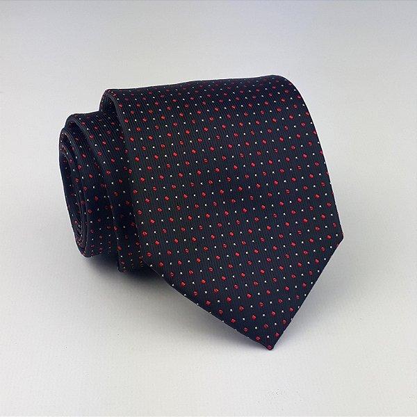 3124412037f Gravata Preta Micro Poa Semi Slim - HClássico