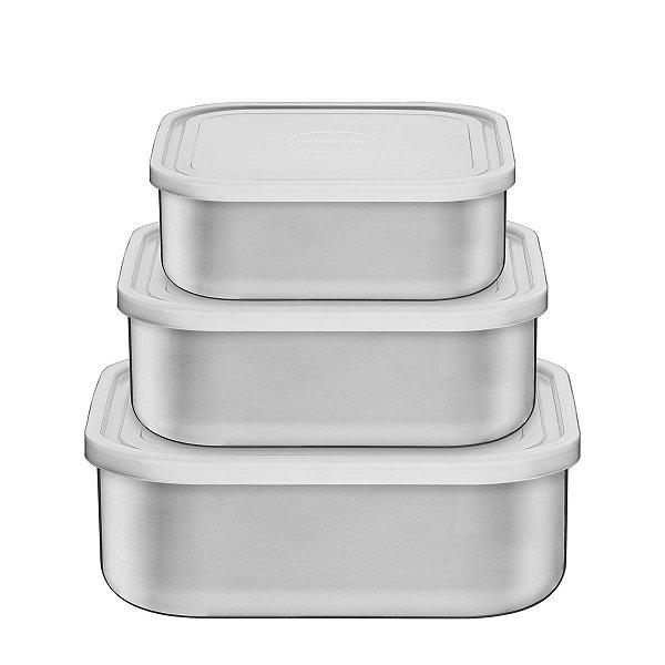 Jogo de Potes Tramontina Freezinox Quadrados em Aço Inox com Tampa Plástica 3 Peças