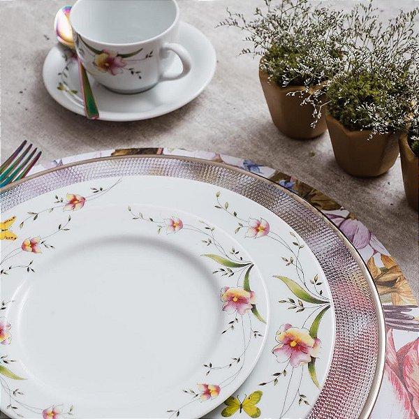 Aparelho de Jantar Chá Schmidt Porcelana Carmen 30 Peças