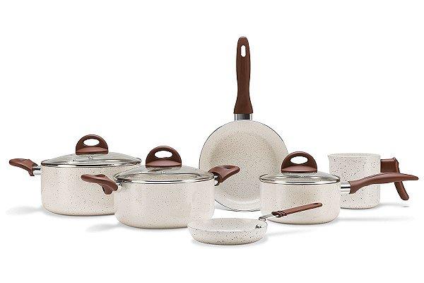 Jogo de Panelas 6 Peças - Ceramic Life Smart Plus Brinox - VANILLA Brinox