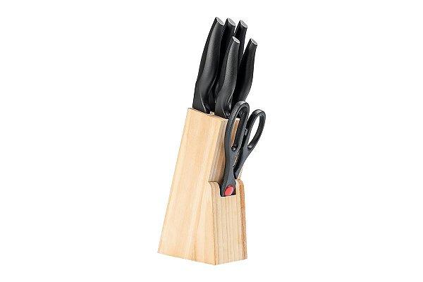 Conjunto de facas 7 peças com cepo Cross - Preto Brinox