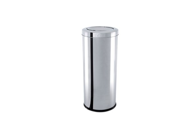 Lixeira Inox com Tampa Basculante 7,8 Litros - Decorline Lixeiras Ø 18,5 x 29 cm - Brinox