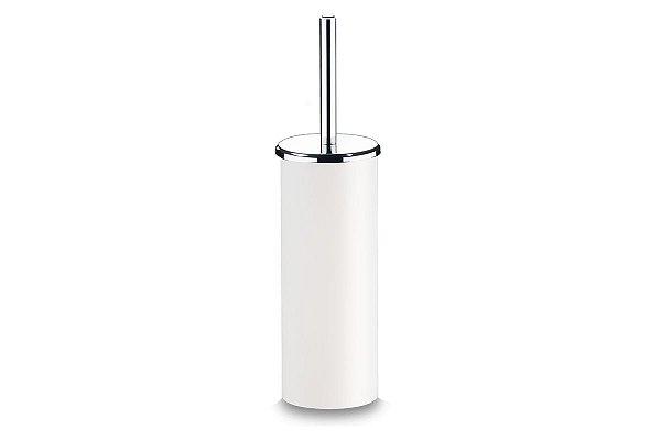 Suporte PS com Escova para Banheiro - Decorline Banheiro Ø 10 x 39 cm - Branco Brinox