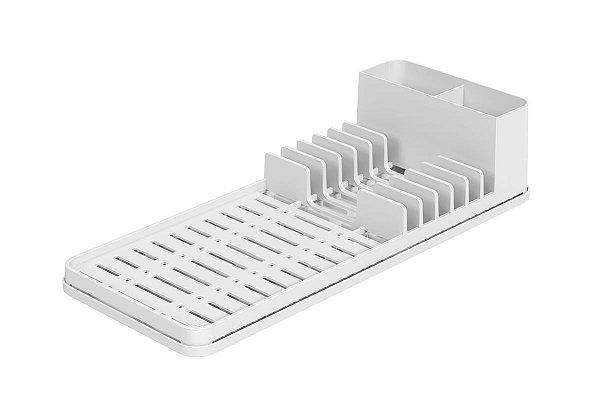 Escorredor com Tapete de Pia Branco Single Coza 42,2 x 17,4 x 9,4 cm - Branco Coza