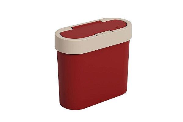 Lixeira Flat 11 x 23,5 x 20,5 cm 2,8 L - Vermelho Bold e Light Gray Coza