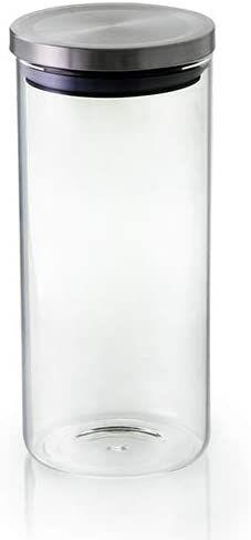 Pote Hermético Transparente De Borossilicato Com Tampa Inox 1.3l Mimo Style