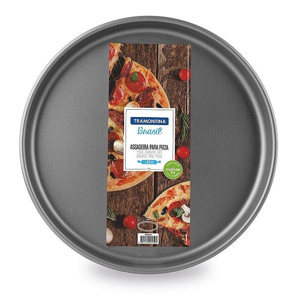 Assadeira para Pizza Tramontina Brasil em Alumínio com Revestimento Interno e Externo Antiaderente Starflon T1 Grafite 30 cm 1,8 L